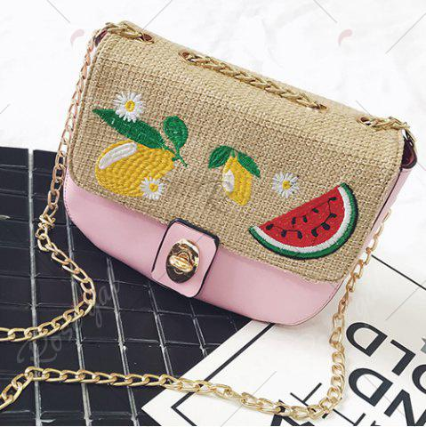 Shop Chain Fruit Embroidered Crossbody Bag - PINK  Mobile