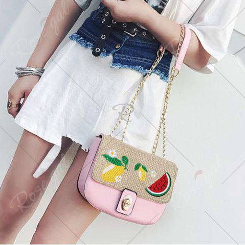 Trendy Chain Fruit Embroidered Crossbody Bag - PINK  Mobile