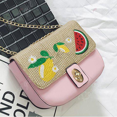 Hot Chain Fruit Embroidered Crossbody Bag - PINK  Mobile