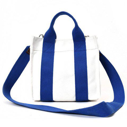 Trendy Striped Canvas Tote Bag BLUE