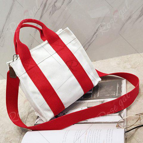 Outfits Striped Canvas Tote Bag - RED  Mobile