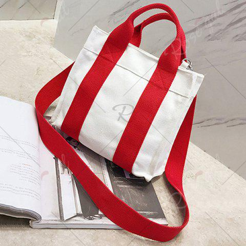 Latest Striped Canvas Tote Bag - RED  Mobile