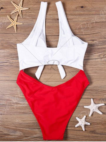 Store Cut Out One-piece Two Tone Swimwear - S RED AND WHITE Mobile