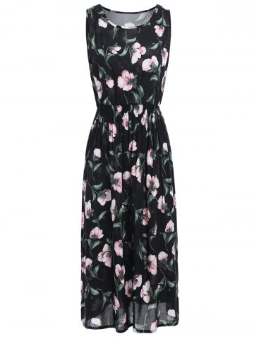 High Waist Sleeveless Midi Floral Leaf Dress