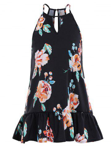 Outfits Floral Peplum Cami Tank Top BLACK S