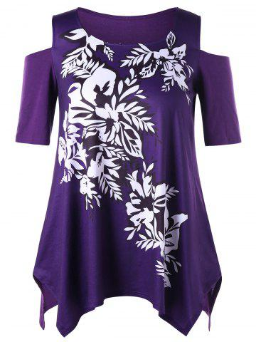 Cheap Plus Size Floral Cold Shoulder Top PURPLE XL