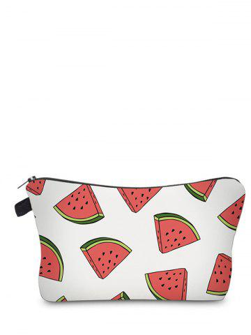 Trendy Fruit Printed Clutch Makeup Bag WHITE