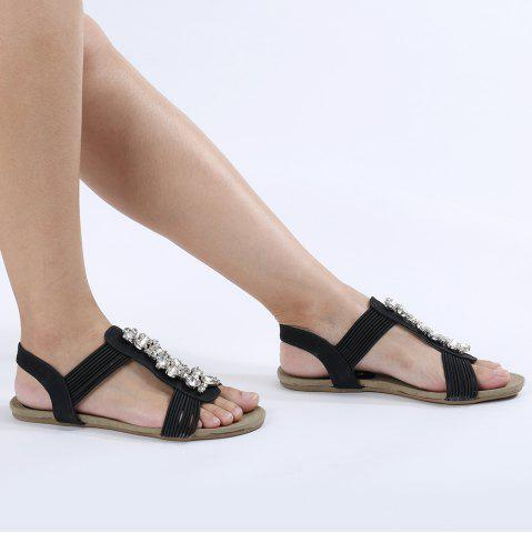 Discount Elastic Band Rhinestone Embellished T-strap Flat Sandals BLACK 37