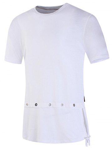 Discount Metal Loop Side Lace Up Braid Embellished T-shirt WHITE 2XL