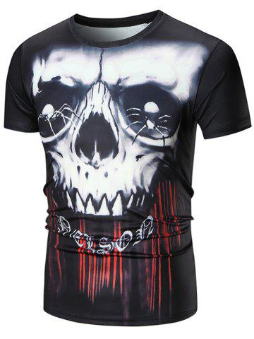 Outfits Short Sleeve 3D Skull Spider Print Tie Dye T-shirt - L BLACK Mobile