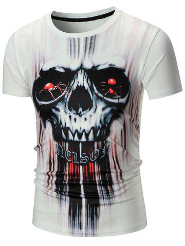 Fashion Short Sleeve 3D Skull Spider Print Tie Dye T-shirt WHITE XL
