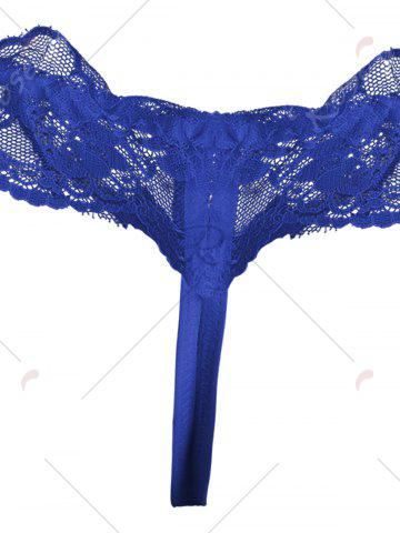 Buy Lace Ruffles Low Waist T Back - ONE SIZE BLUE Mobile