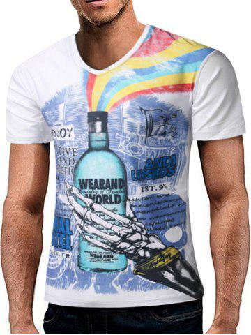 Buy Skull Hand Graphic Rainbow Print V Neck T-shirt WHITE L