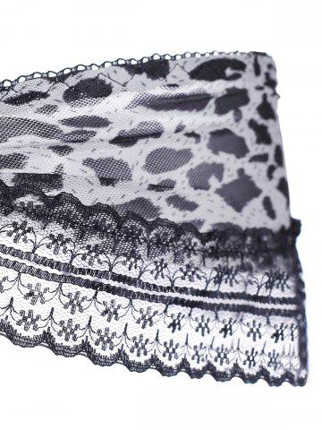 Trendy Lace Leopard Lingerie Ruffles G-String - ONE SIZE GRAY Mobile