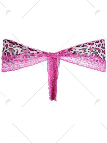 Hot Lace Leopard Lingerie Ruffles G-String - ONE SIZE PEACH RED Mobile
