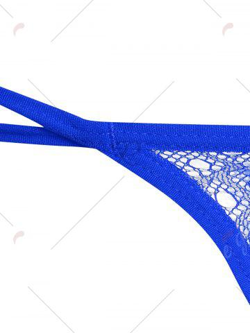 Discount Embroidered Dual Straps G-String - ONE SIZE BLUE Mobile