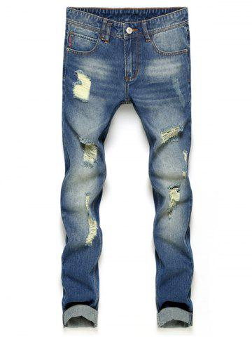 Slim Fit Zipper Fly Ripped Neuf Minutes of Jeans