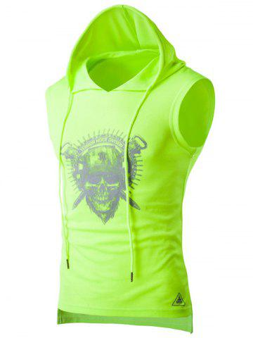 Chic Drawstring Hooded Skull Print Sport Tank Top NEON GREEN XL