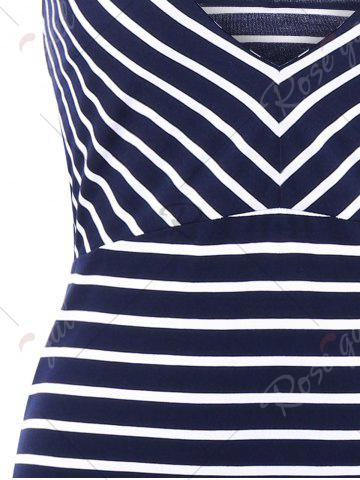 Discount Plunging Neck Striped Open Back Bodycon Dress - M ROYAL Mobile