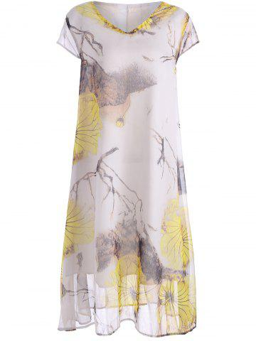 Online Plus Size V Neck Printed Midi Dress
