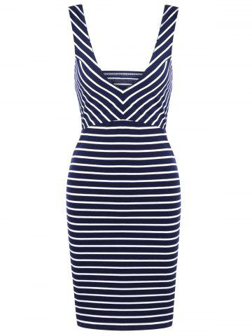 Affordable Plunging Neck Striped Open Back Bodycon Dress - XL ROYAL Mobile
