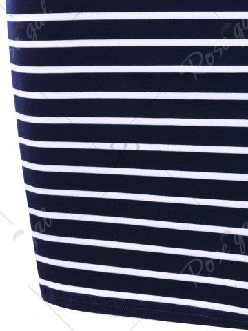 Hot Plunging Neck Striped Open Back Bodycon Dress - 2XL ROYAL Mobile