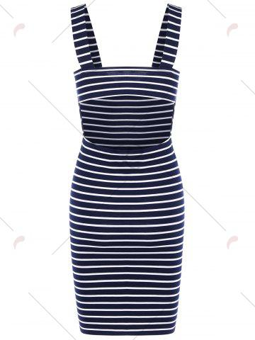 Online Plunging Neck Striped Open Back Bodycon Dress - 2XL ROYAL Mobile