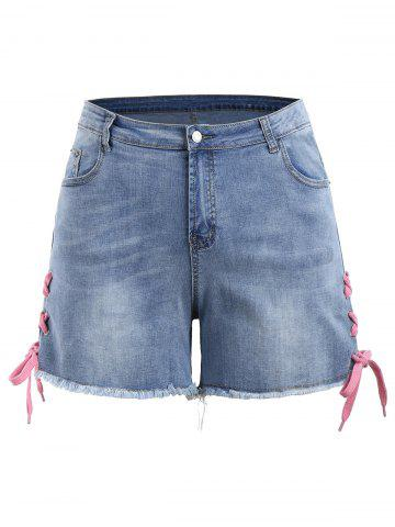 Unique Plus Size Lace Up Mini Denim Shorts - 5XL DENIM BLUE Mobile