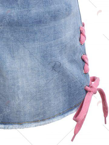 New Plus Size Lace Up Mini Denim Shorts - 5XL DENIM BLUE Mobile
