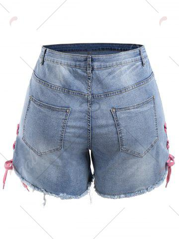 Best Plus Size Lace Up Mini Denim Shorts - 5XL DENIM BLUE Mobile
