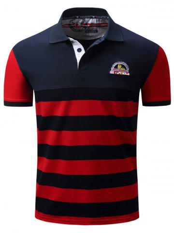 Trendy Badge Embroidered Color Block Panel Stripe Polo T-shirt BLUE AND RED 2XL