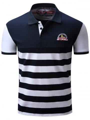 Chic Badge Embroidered Color Block Panel Stripe Polo T-shirt BLUE/WHITE L