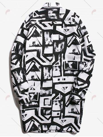 Chic Chest Pocket Geometric Printed Coat - 2XL WHITE AND BLACK Mobile