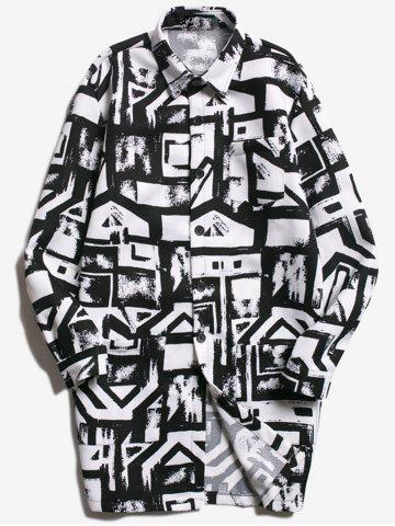 Chic Chest Pocket Geometric Printed Coat WHITE AND BLACK L