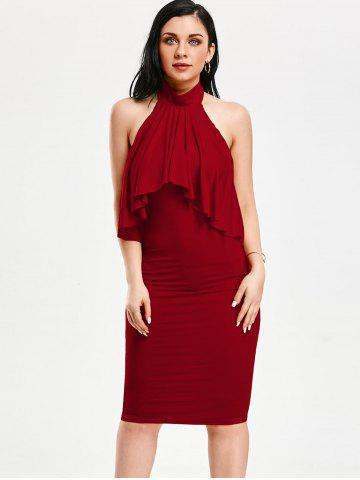 Best High Neck Flounce Backless Sleeveless Work Christmas Party Dress - S RED Mobile