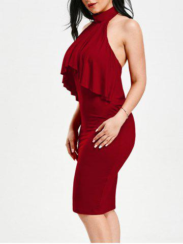 Discount High Neck Flounce Backless Sleeveless Work Christmas Party Dress - M RED Mobile