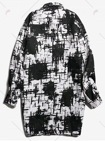 Best Chest Pocket Tie Dyed Coat - 2XL WHITE AND BLACK Mobile