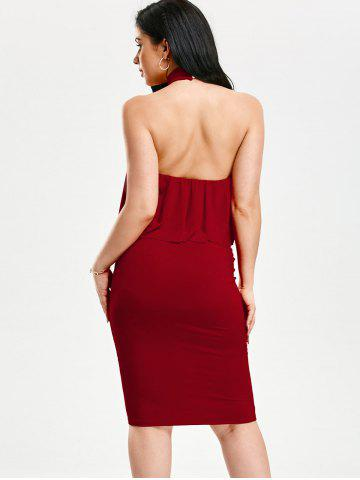 Shop High Neck Flounce Backless Sleeveless Work Christmas Party Dress - L RED Mobile