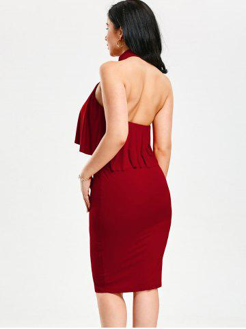 Discount High Neck Flounce Backless Sleeveless Work Christmas Party Dress - L RED Mobile