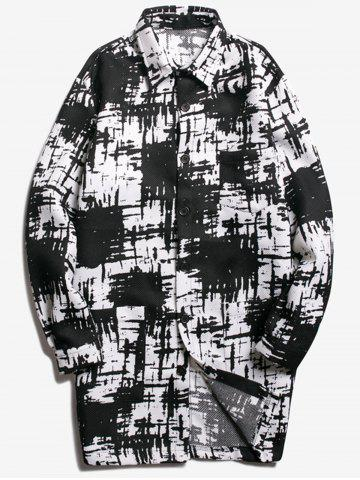 Trendy Chest Pocket Tie Dyed Coat WHITE AND BLACK S