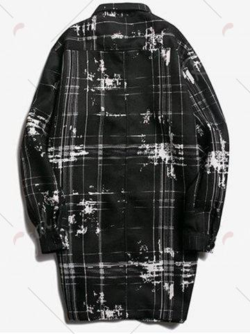 Shops Turndown Collar Tie Dyed Checked Coat - 2XL BLACK Mobile