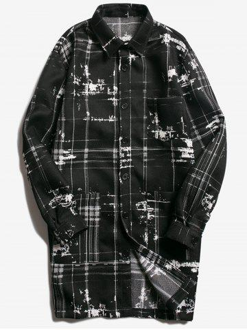 Buy Turndown Collar Tie Dyed Checked Coat BLACK XL