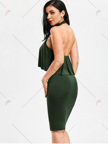 Fancy High Neck Flounce Backless Sleeveless Work Christmas Party Dress - M ARMY GREEN Mobile