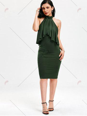 Shop High Neck Flounce Backless Sleeveless Work Christmas Party Dress - M ARMY GREEN Mobile