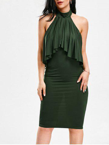 Shop High Neck Flounce Backless Sleeveless Work Christmas Party Dress - S ARMY GREEN Mobile