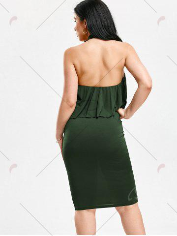 Discount High Neck Flounce Backless Sleeveless Work Christmas Party Dress - S ARMY GREEN Mobile