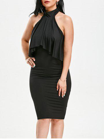 Outfits High Neck Flounce Backless Sleeveless Work Christmas Party Dress - XL BLACK Mobile