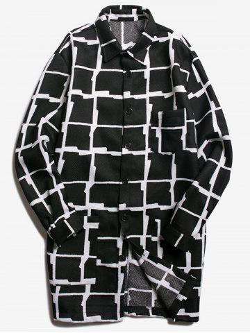 Fancy Chest Pocket Turndown Collar Checked Coat BLACK 2XL