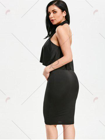 Unique High Neck Flounce Backless Sleeveless Work Christmas Party Dress - L BLACK Mobile
