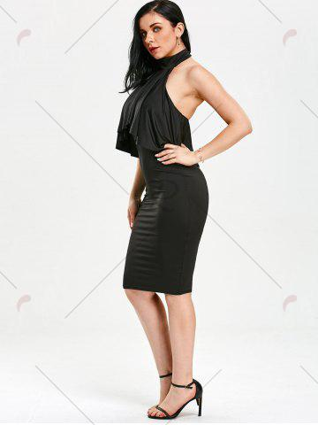 Discount High Neck Flounce Backless Sleeveless Work Christmas Party Dress - L BLACK Mobile